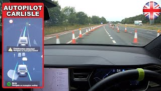 FSD AVOIDING traffic cones WITHOUT confirmation! - Tesla Autopilot in a UK City #14 Carlisle
