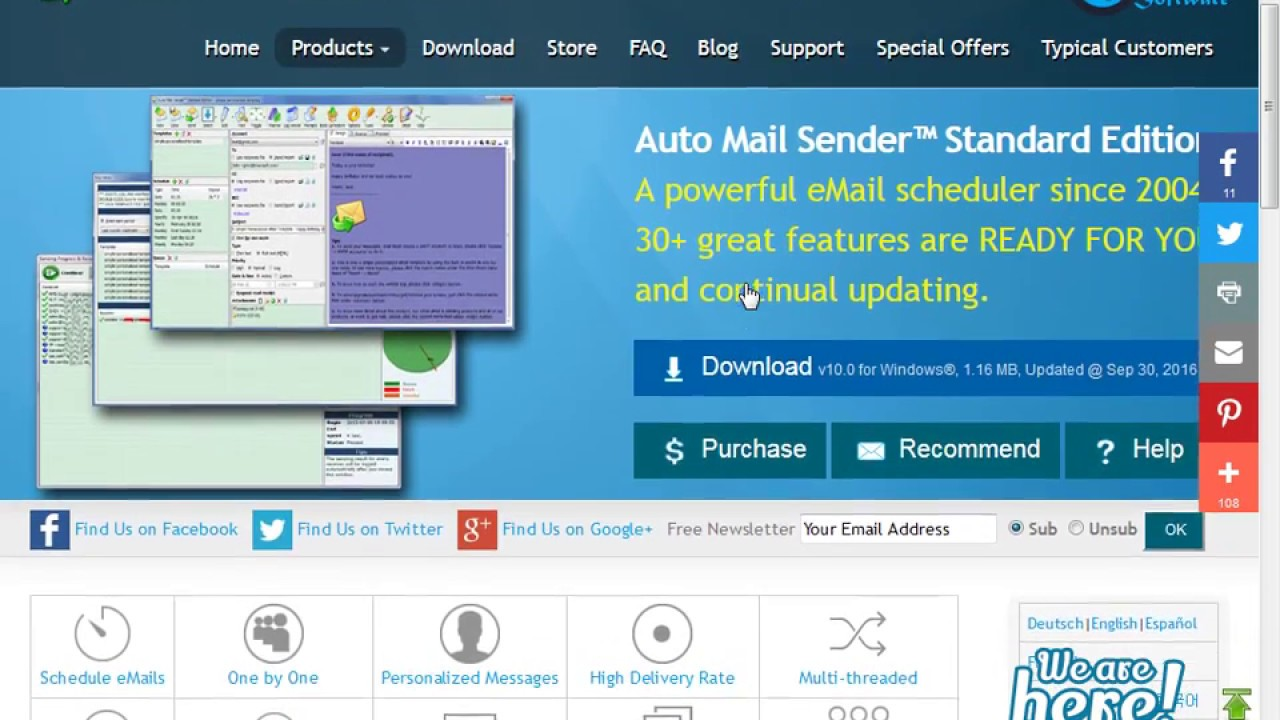 Auto Mail Sender™ Standard Edition - 1  Set eMail Account(s)