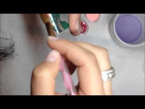 Tutorial unghii constructie acryl stiletto unghii sablon lichid pudre acrilice