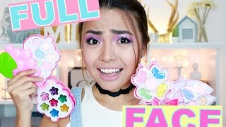 FULL FACE Using KIDS Make Up ONLY Challenge (Puro Pink!! LOL)