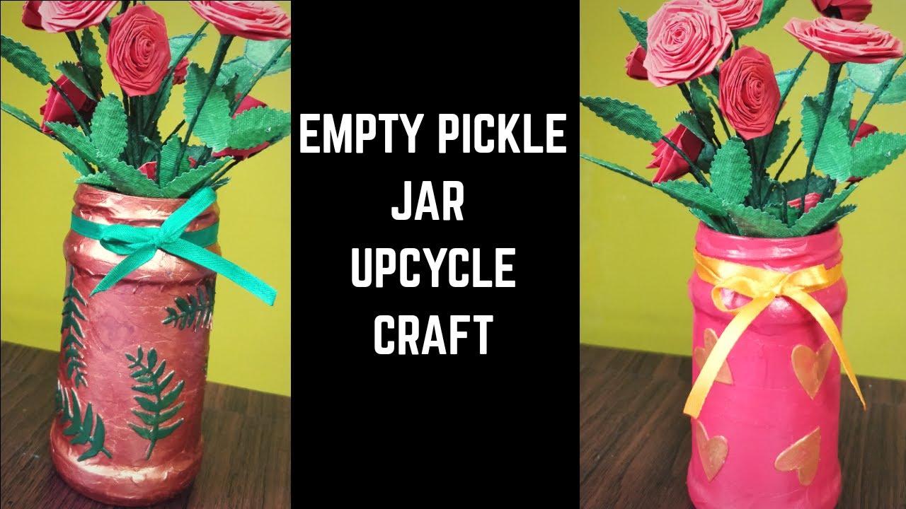 Pickle Jar Reuse Idea Pickle Jar Upcycle Glass Jar Crafts Pickle Jar Craft Best Out Of Waste Usi 124 Youtube