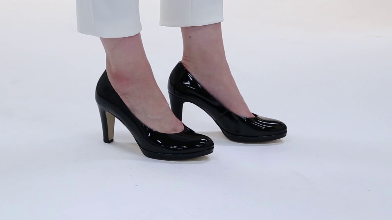 68e16c62c22 Gabor Splendid Black Patent High Heel Court Shoes - YouTube