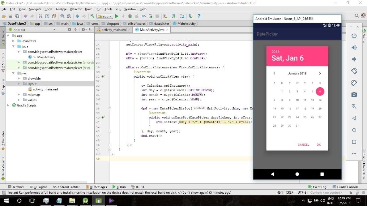 Datepicker Dialog Android Studio Tutorial Youtube