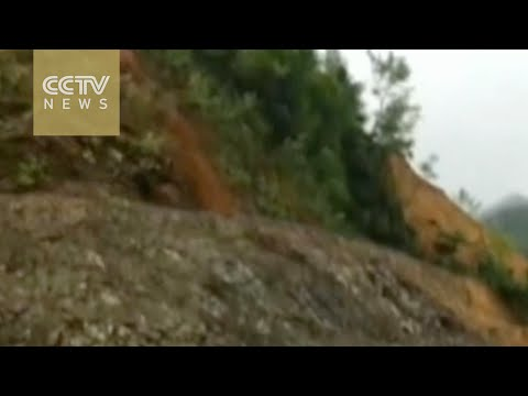 Mobile footage records landslide in south China city