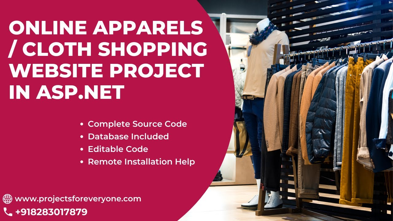 Online apparels clothes shopping asp net project with for Online websites for shopping