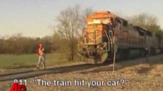 Raw Video: Ferrari Tangles With Train in Texas