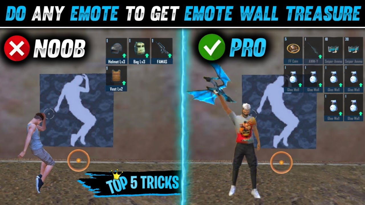 Download TOP 5 SECRET TRICKS FREE FIRE   GET EMOTE WALL TREASURE WITH ANY EMOTE   STREET FIGHTER X FREE FIRE