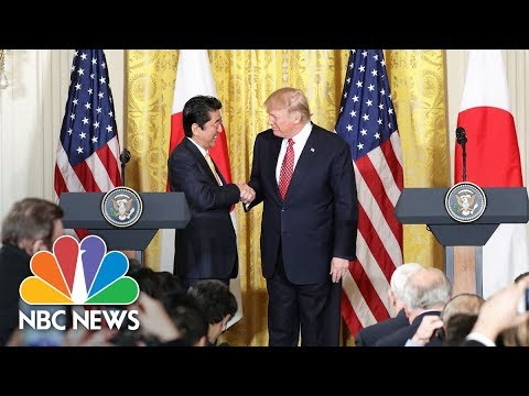 President Donald Trump holds joint presser with Japanese PM Shinzo Abe