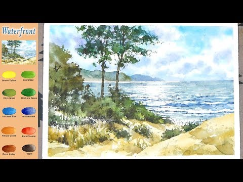 Without Sketch Landscape Watercolor - Waterfront (color mixing process) NAMIL ART