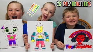 3 Marker Challenge YouTubers Edition #1 Guava Juice, Denis Daily, Toys AndMe!!!