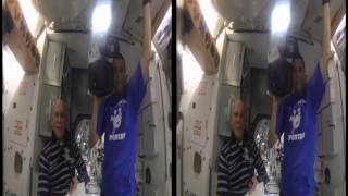 Space Station Astronauts Grow a Water Bubble in Space (3D Side by Side)