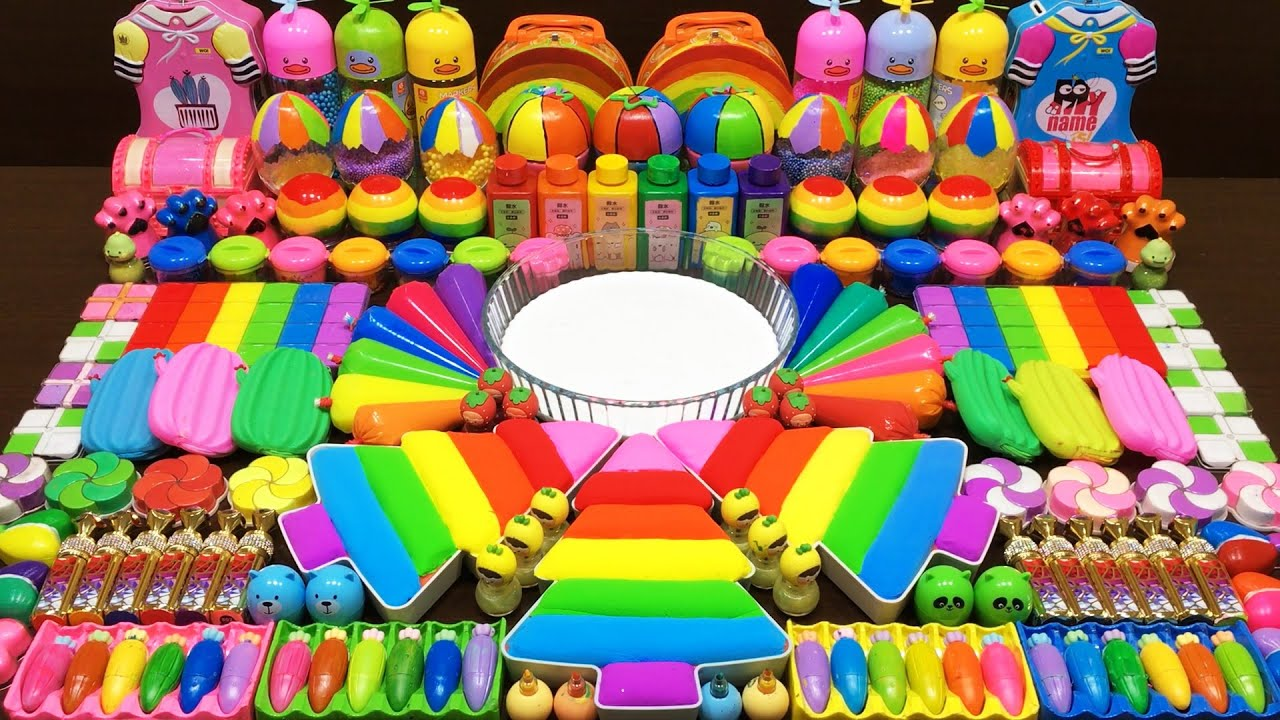 Rainbow Slime ! Mixing Random Things into GLOSSY Slime ! Satisfying Slime Video #266