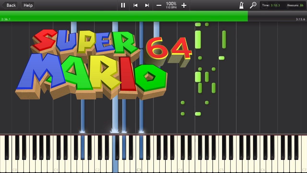 Super Mario 64 - End Theme Piano Tutorial Synthesia - Transcription/MIDI  [HD]