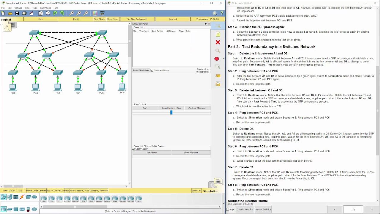 Lab 2 1 1 5 Packet Tracer - Examining a Redundant Design