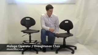 Malaga Operator / Draughtsman Chair - Demonstration Video - Atlantis Office(The Malaga chair comes in two versions, a standard operator type and a draughtsman version. The Draughtsman chair raises to a higher lever than other office ..., 2015-04-10T13:18:15.000Z)
