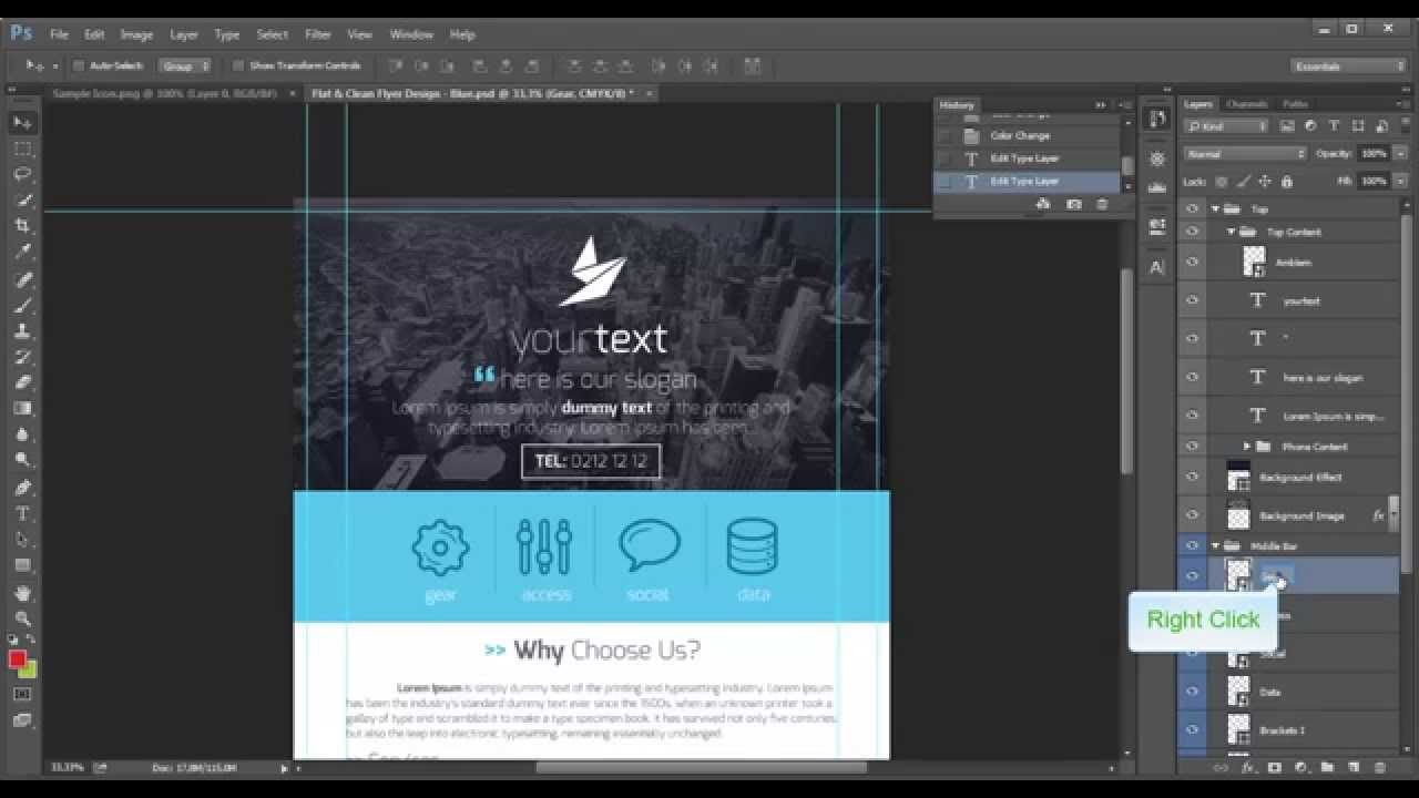 Connu Flat & Clean Flyer Design - Photoshop Tutorial - YouTube XQ34