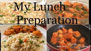 What I prepared for Lunch Lunch box recipe  Veg Fried Rice  Cauliflower Manchurian  GOBI MANCHURIAN