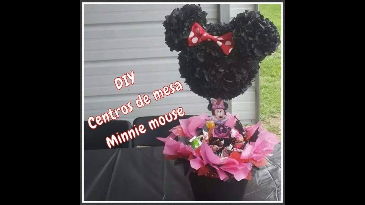 Diy centros de mesa minnie mouse youtube for Como hacer una mesa de centro