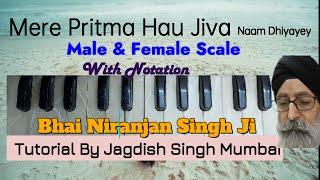 Learn MERE PRITMA  (Bhai Niranjan Singh Ji) --Notation's & Tutorial on M & FM Scale