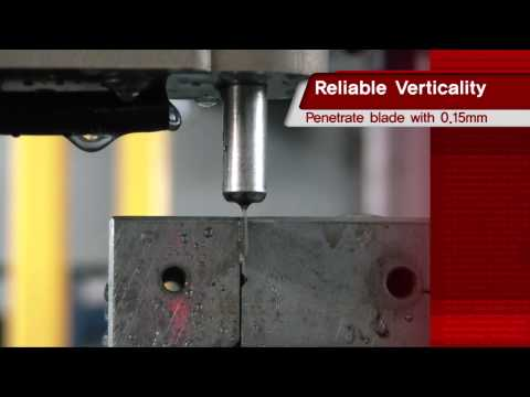 Drilling a 0.15mm hole on the 0.9mm blade vertically with HANKOOK NSD'S CNC EDM Drill
