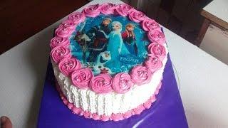 Торт С Вафельной картинкой.Торт для девочки,Торт на 5 лет для девочки