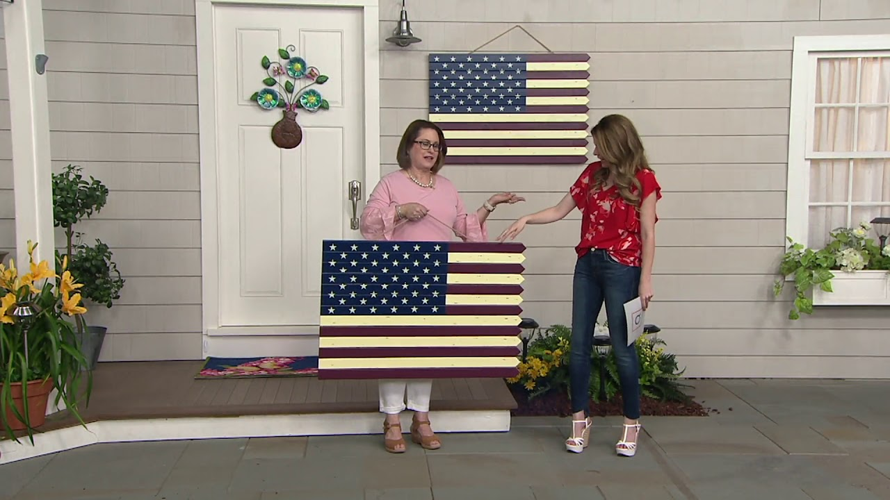 Plow Hearth Indooroutdoor Wooden American Flag Decoration On Qvc