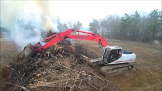 Linkbelt 2800 Excavator Burning Brush