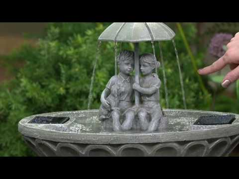 Children with Umbrella Lighted Solar Fountain by Smart Solar on QVC