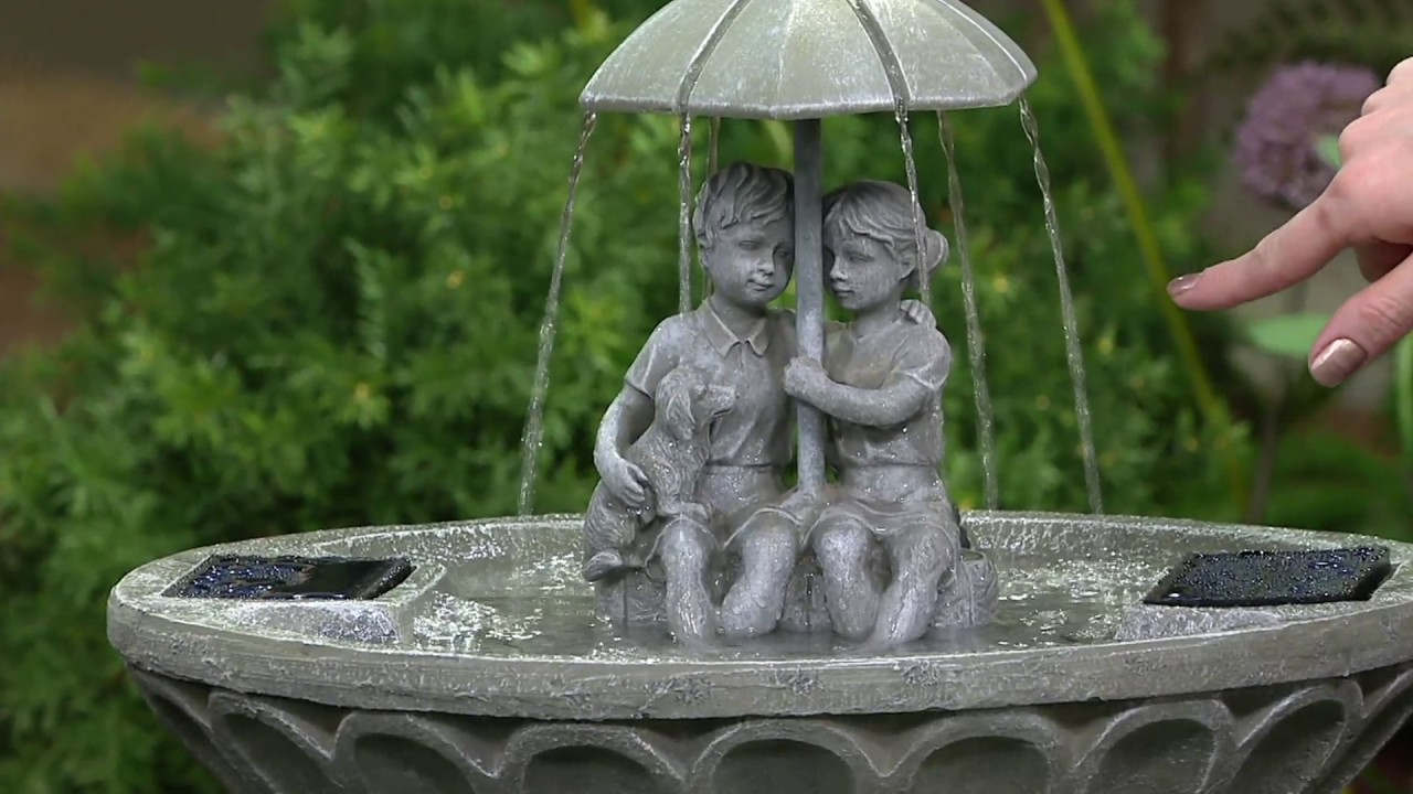 Children With Umbrella Lighted Solar Fountain By Smart