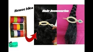 Hair accessories making with bangles | Reuse ideas with old bangles