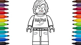 How to draw Lego Ninjago Cole (High school outfit) from the Lego Ninjago Movie