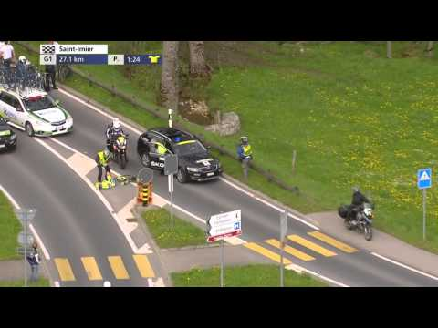Jesper Hansen gets knocked off his bike by the medical car!