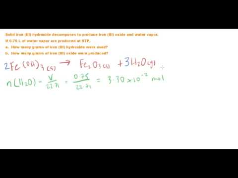 Gas Stoichiometry - Decomposition Of Iron(III) Hydroxide