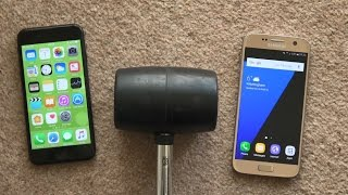 iPhone 7 vs Samsung Galaxy S7 - Hammer Drop Test! (4K)