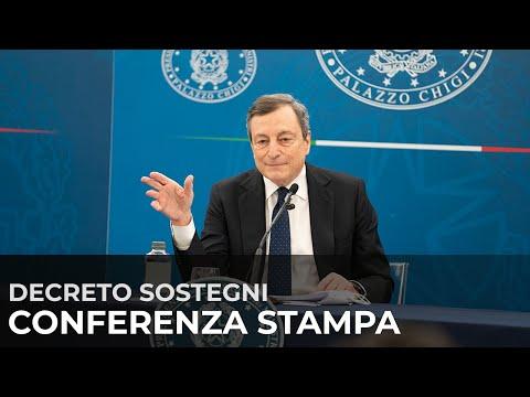 #DecretoSostegni, conferenza stampa del Presidente Draghi con i Ministri Franco e Orlando