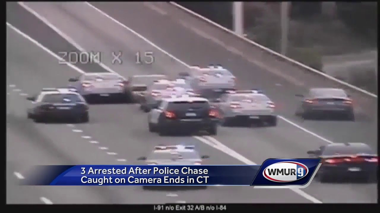 Three arrested after police chase caught on camera ends in CT