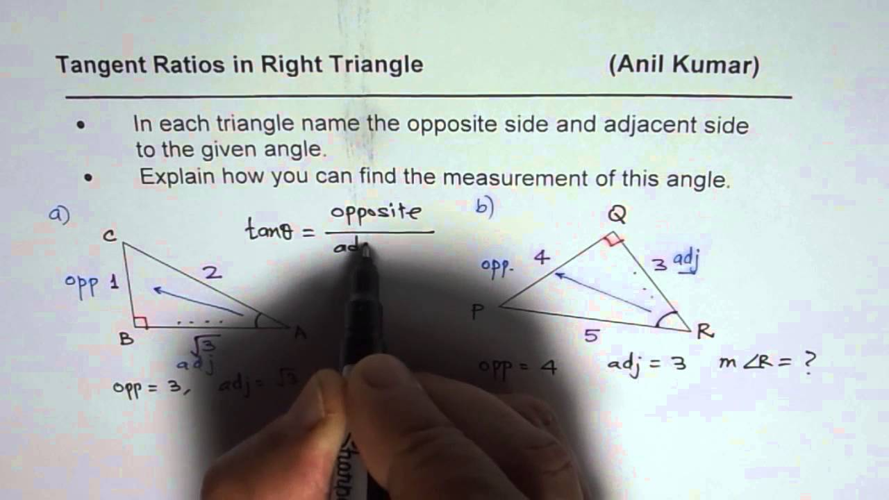 How To Find Tangent Ratio And Angle In Right Traingle Basic Concept