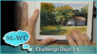 Painting Sketchbook Tour, First 6 Days – 30x30 Direct Watercolor Challenge + Speed Painting