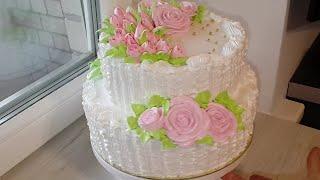 Торт на 80 летний юбилей Сборка и украшение двухъярусного торта
