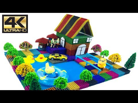 ASMR  DIY How To Make Garden House with Magnetic Balls, Slime and Minion  Magnetic Boy 4K