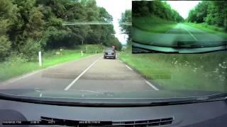 Dépassement dangereux par un crétin en Audi