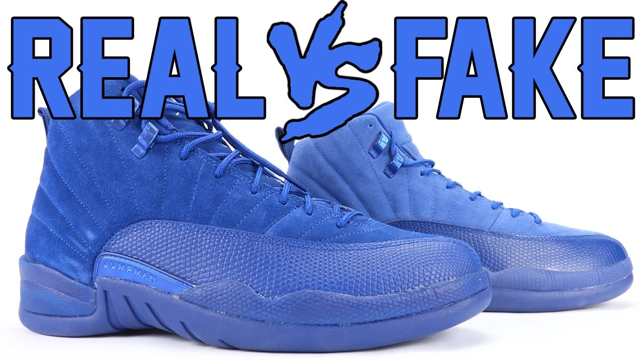 d9019afa47ec Real vs Fake Air Jordan 12 Deep Royal Blue Suede Legit Check - YouTube