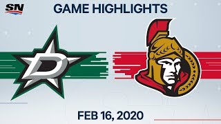 NHL Highlights | Stars vs Senators - Feb. 16, 2020