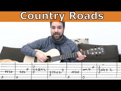 Fingerstyle Tutorial: Country Roads [Full Instrumental] - Guitar Lesson w/ TAB