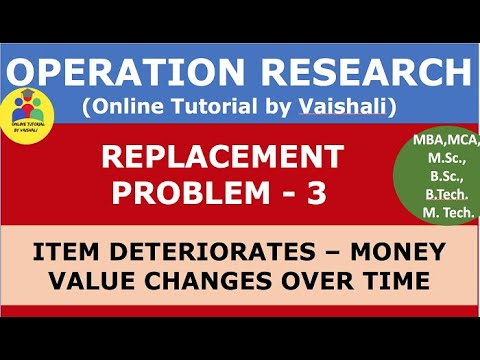 Replacement Problem In Operation Research - Replacement Model - Money Value Changes - Part 3