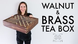 Walnut Tea Box // Brass Inlay // Brass Splines // Woodworking Project // Spline Miter // Half Laps