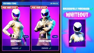 "New ""Whiteout + Overtaker"" SKINS in Fortnite! (New SKINS GAMEPLAY)"