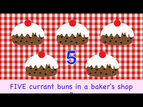 Five Currant Buns In A Baker's Shop | 5 | NURSERY RHYME | RainbowRabbit | Counting Song |