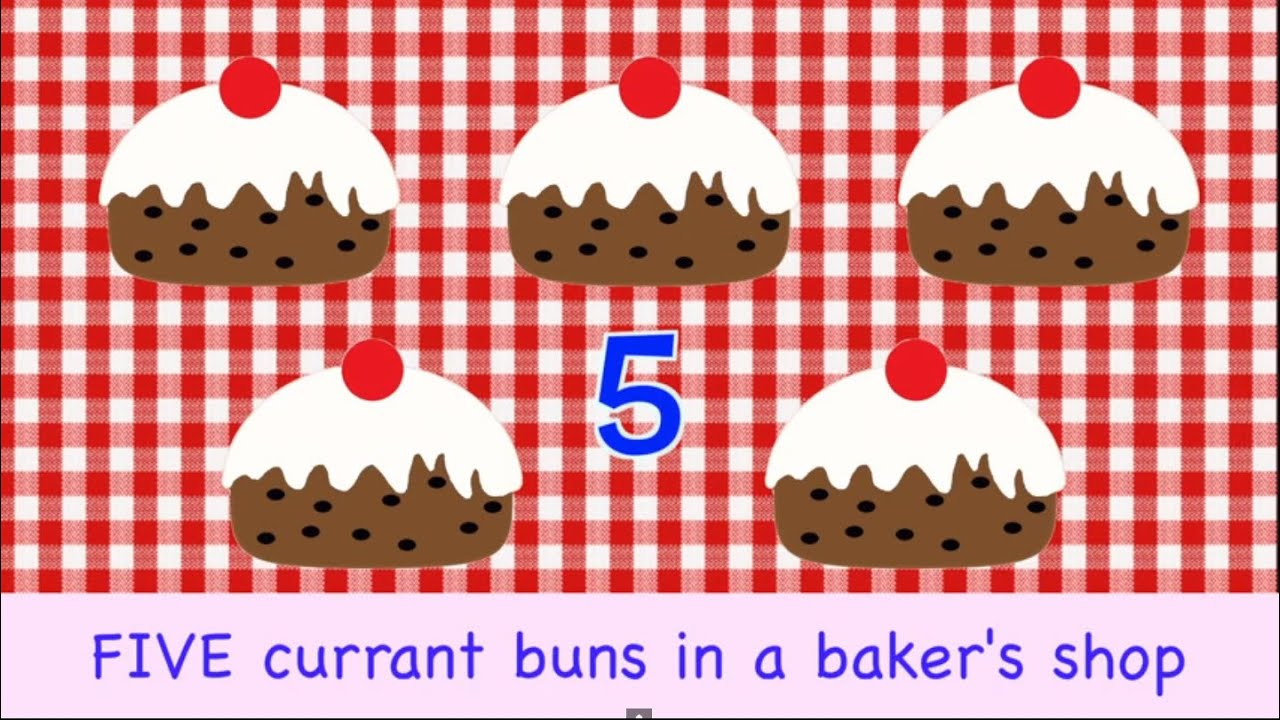Five Currant Buns In A Baker's Shop | 5 | NURSERY RHYME ...