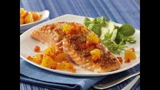 Sweet And Spicy Baked Salmon & Citrus Salsa